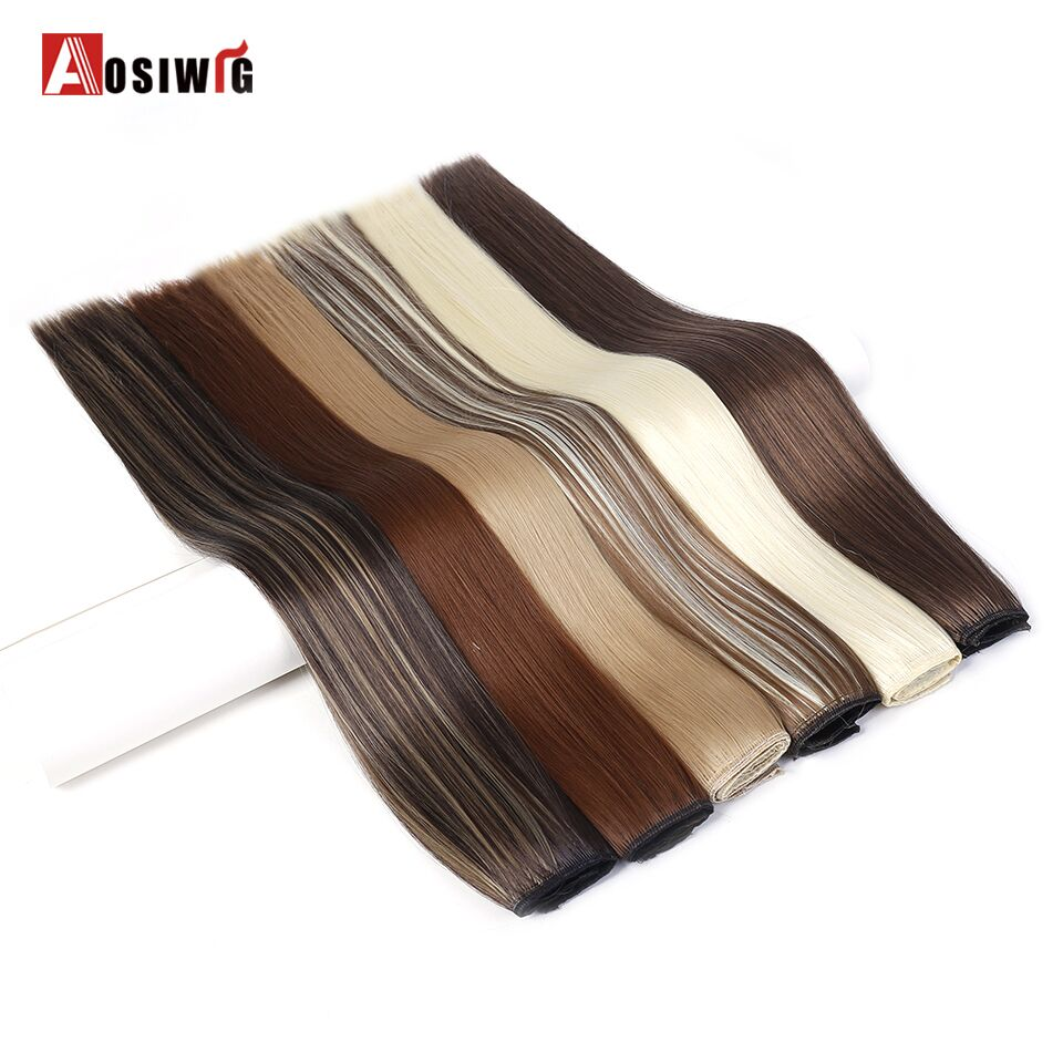 AOSIWIG 12 Colors Long Straight 5 Clips High Temperature Fiber Synthetic Clip in Hair Extensions for Women