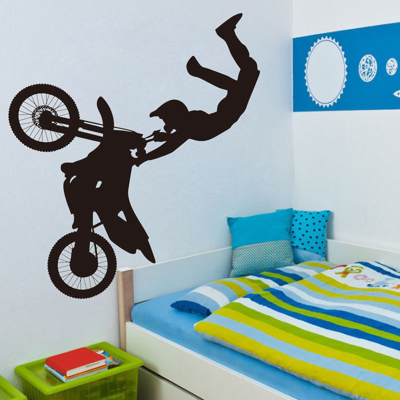 Dirt Cheap Home Decor: Sports A Boy Riding Dirt Bike With Trick Wall Decal Mural