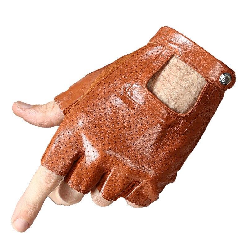 Real Leather Half Finger Gloves Male Summer Thin Breathable Driving Non-Slip Semi-Finger Fitness Sheepskin Gloves Female NAN9-1