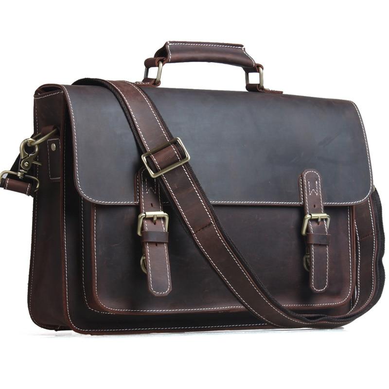 TIDING Ανδρικά Χαρτοφύλακες Laptop Τσάντα Vintage Style Cross Body Messenger Τσάντα Cowhide Δερμάτινα Νέα Άφιξη 1099
