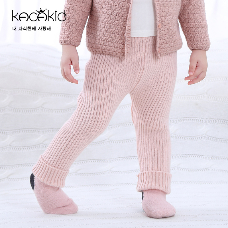 KACAKID Autumn Winter Knitted Unisex Baby Pants Warm Fashion Children Kids Baby Pants Stripe Knitted Infant Kids Baby Pants 3360