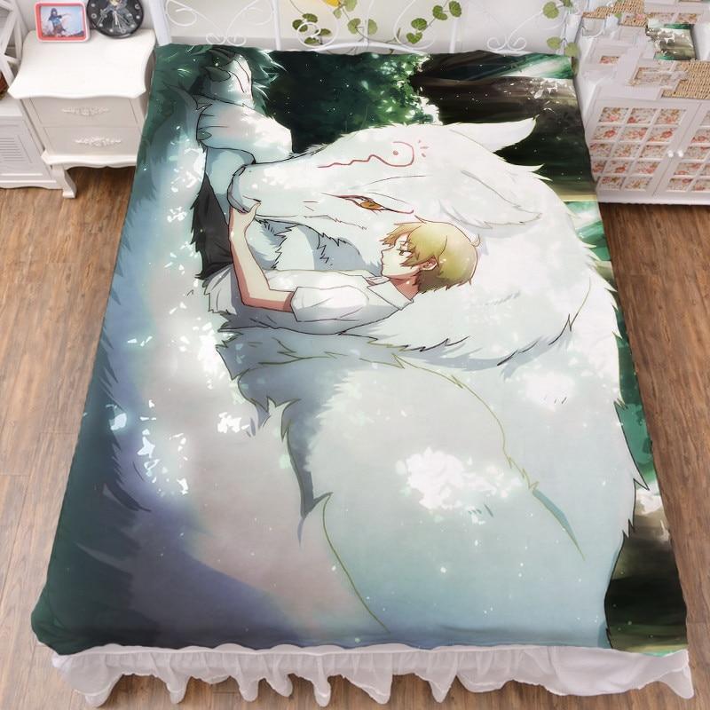 150x200cm Japan Anime Natsume Yuujinchou Natsume Takashi natsume reiko bed sheet milk fiber flannel blanket summer