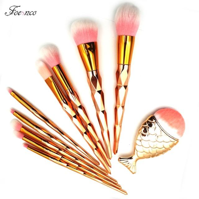 1pcs Diamond Fish Makeup Brushes Foundation Blending Power Eyeshadow Contour Concealer Blush Cosmetic Beauty Make Up bursh Set
