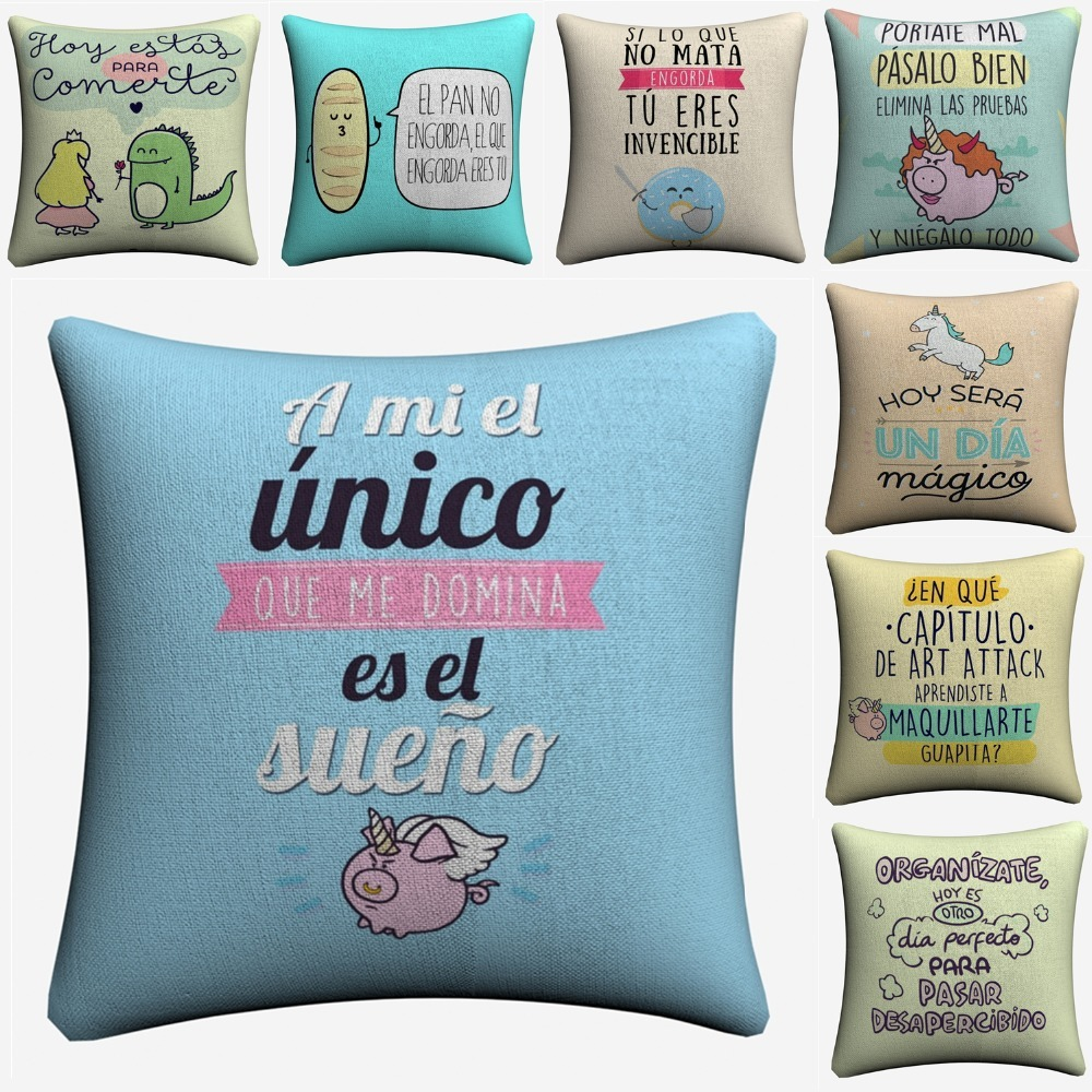 Shock-Resistant And Antimagnetic Delicious Mr Wonderful Kids Cartoon Quote Decorative Cotton Linen Cushion Cover 45x45cm For Sofa Chair Pillow Case Home Decor Almofada Waterproof Table & Sofa Linens Cushion Cover