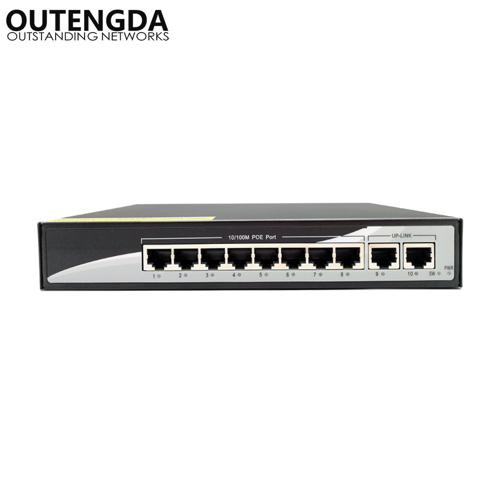 10/100M Ethernet PoE Switch 10 Ports with Two UpLink Built-in Power 24V Power-over-Ethernet Switch for Wireless AP, IP camera