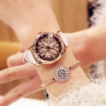 Rotation Dial Luxury Leather Women Watches Diamond Snowflake Waterproof Lady Watch Fashion Dress Quartz Wristwatch Dropshipping все цены