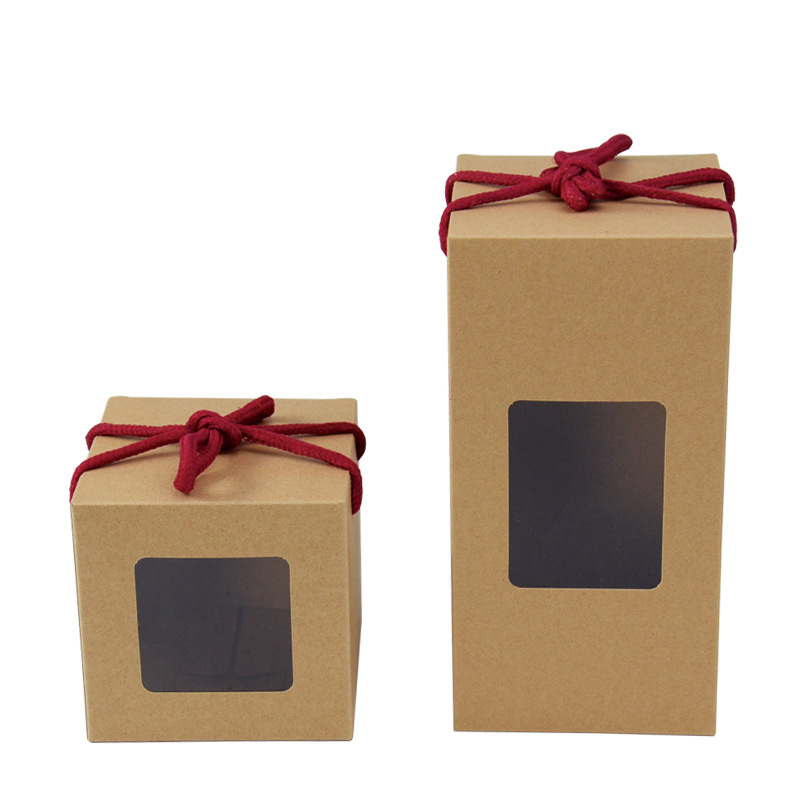 10pcs/lot Kraft Paper Boxes 2 Size Gift Box With Window Brown Wedding Gift Chocolates Candy Food Packing Box