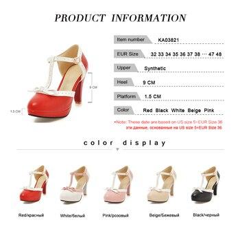 RIZABINA Size 32-48 High Heel Women Sandals Bow Wedding Shoes Women's Square Heels Sandals Round Toe Platform Shoes Footwear