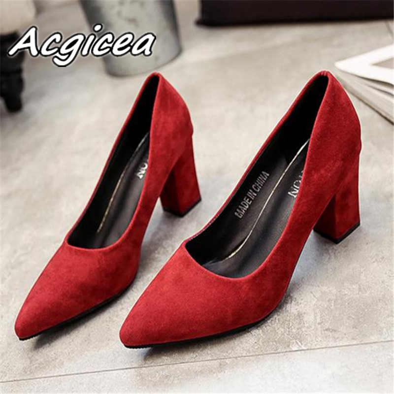 2019 autumn new Korean version pointed lady sexy high heels black with thick with wild single shoes women shoes s023