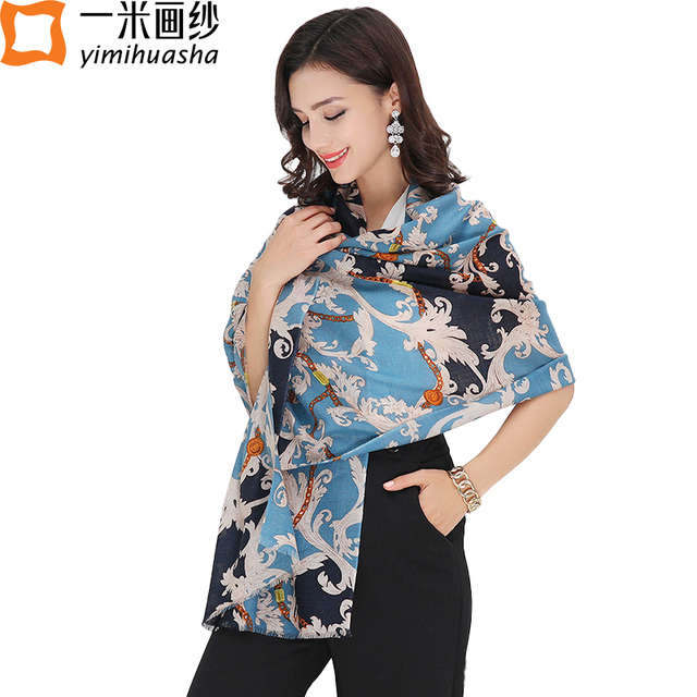 Luxury brand women winter wool scarf fashion trends pattern print shawl wrap foulards femme long size 180*66cm