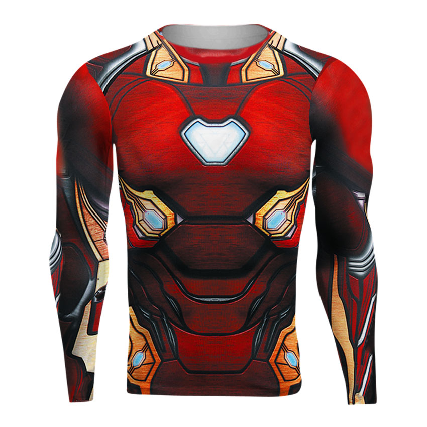 Raglan Sleeve Avengers 3 Iron Man 3D Printed   T     shirts   Men Compression   Shirts   2018 Crossfit Tops For Male BodyBuilding Clothing