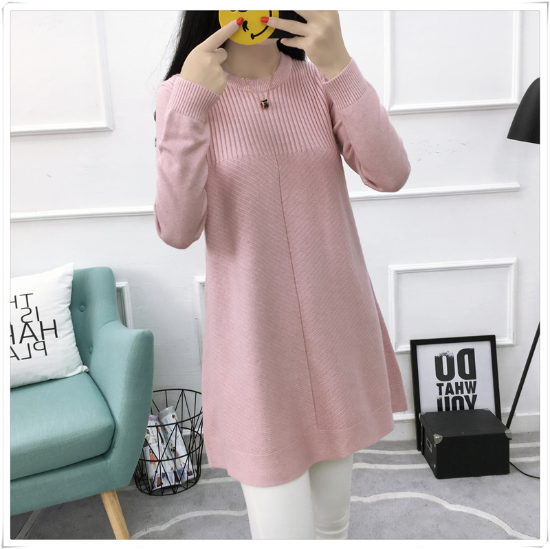 2017 autumn and winter new Korean fashion pregnant women sweater long sleeve sweater backing shirt maternity dress maternity sweater autumn and winter maternity clothing plus size long sleeve sweater one piece dress pullover knitted
