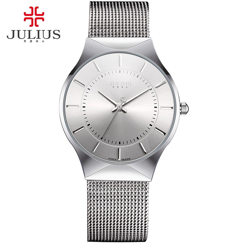 JULIUS Fashion Casual Luxury Watch Top Brand Logo Men's Watch Silver Black Ultra Thin Mesh Full Steel Quartz Waterproof JA-577