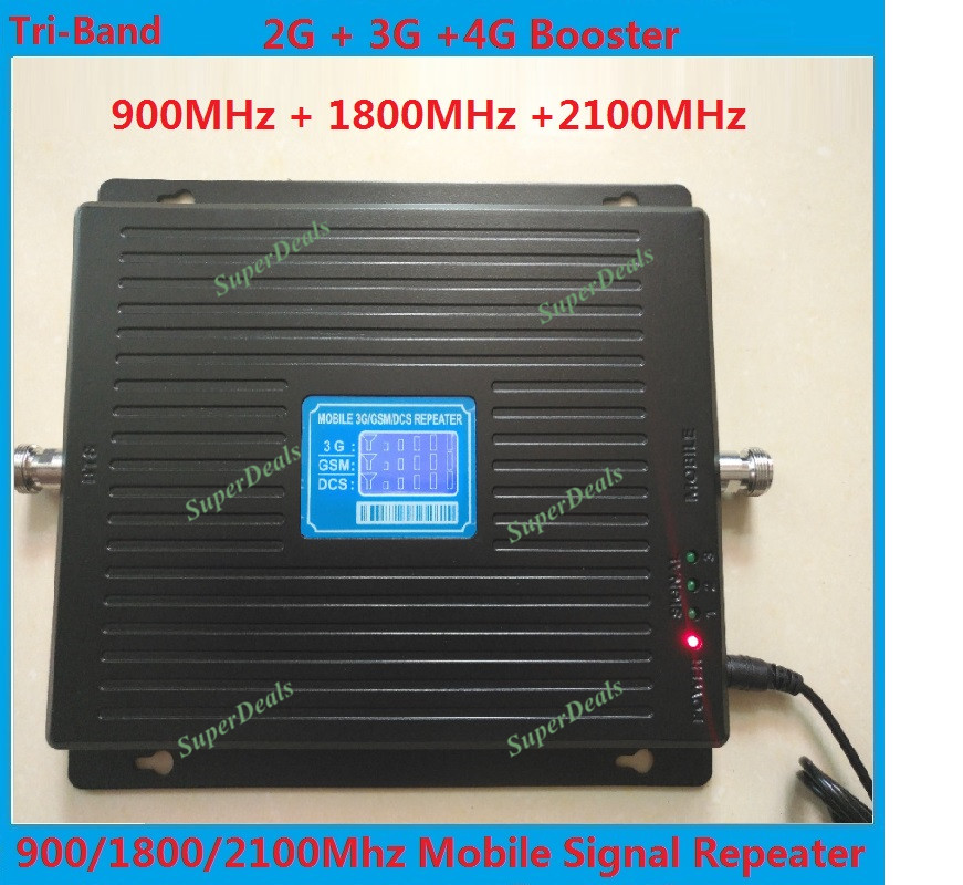 LCD 2g 3g 4g gsm répéteur 900 1800 2100 portable Tri-Bande téléphone signal booster LTE cellulaire signal booster mobile signal amplificateur