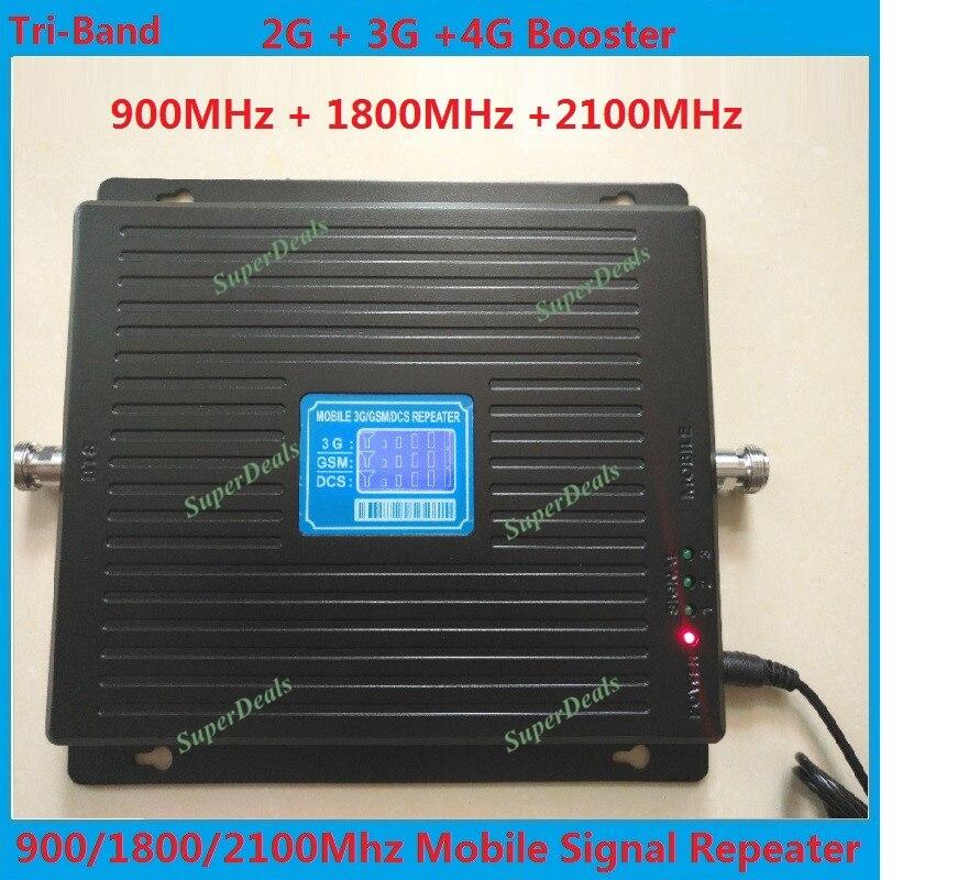 LCD 2g 3g 4g gsm répéteur 900 1800 2100 Tri-Bande gsm 900 dcs 1800 wcdma 2100 Téléphone Cellulaire Répéteur de Signal Booster amplificateur