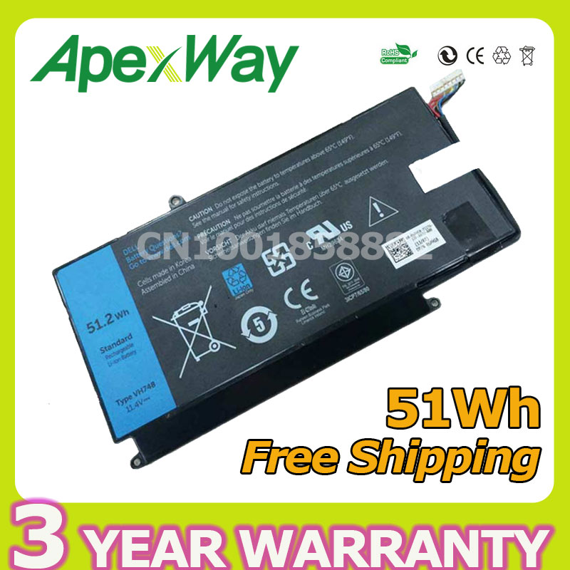 Apexway 11 4V 51Wh laptop battery VH748 For Dell Inspiron 14 5439 VOSTRO V5460 V5470 VH748