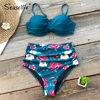 SEASELFIE Blue Floral High Waist Bikini Sets Women Sexy Moulded Cup Push Up Two Pieces Swimsuits 2020 Girl Beach Bathing Suit