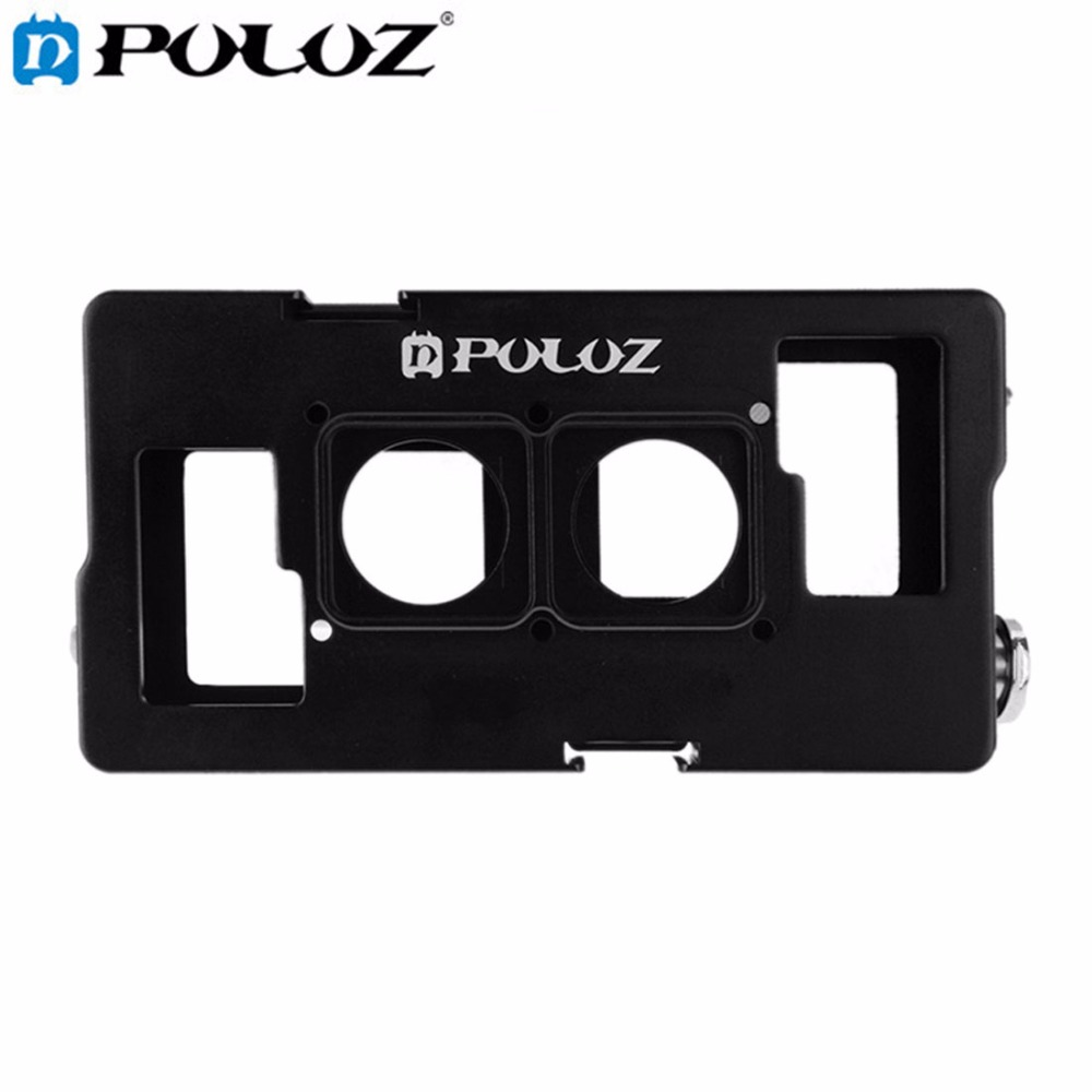 PULUZ For Go Pro Accessories 2 in1 Housing Shell CNC Aluminum Alloy Protective Cage with Lens Frame for GoPro HERO4 HERO 4 / 3+ fat cat high precision cnc alluminum alloy lens strap ring for gopro hero 3 blue