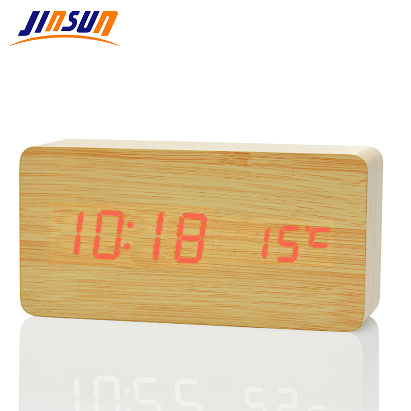 JINSUN Ελαφρύ Ξυπνητήρι Μοντέρνο Ξύλο - Διακόσμηση σπιτιού - Φωτογραφία 1