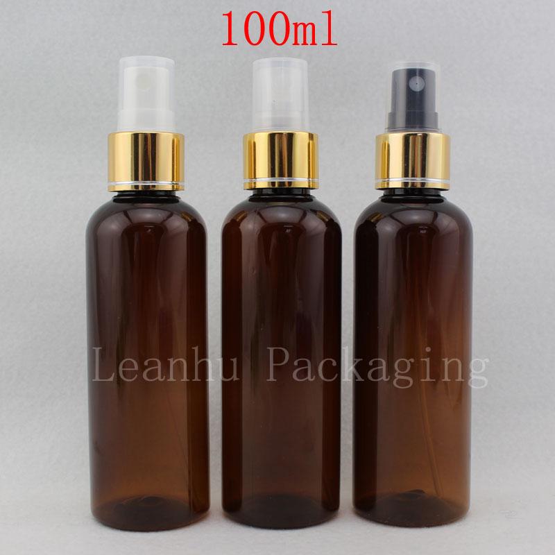 100ml X 50 Empty Amber Perfume Plastic Bottle With Fine Sprayer Pump 100CC Brown PET Bottles