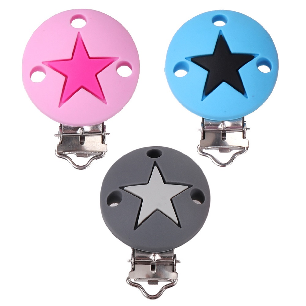 TYRY.HU 10pcs/lot Baby Pacifier Clips Colorful Round Star Silicone Clip BPA Free Nursing Toy Accessories Clips DIY Bead Tool