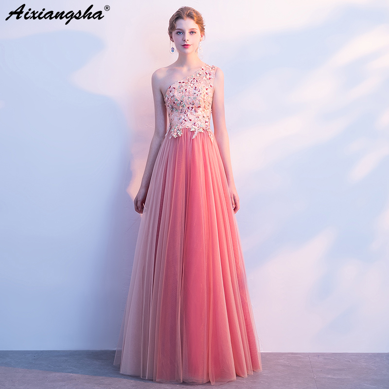 Pink Lace Long   Prom     Dresses   2018 One-Shloulder Beading Floor-Length   Prom     Dress   vestido de festa longo ballkleider lang Plus Size