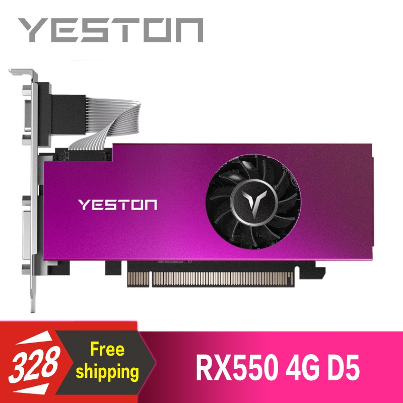 Yeston Radeon RX550 4GB GDDR5 PCI Express 3.0 DirectX12 Single Slot graphics card VGA+HDMI+DVI-D graphics card of Desktop(China)