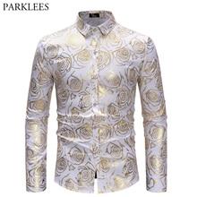 Shiny Gold Rose Print White Men Shirt Long Sleeve Slim Fit Floral Mens  Dress Shirts Party e2d4872f0a21