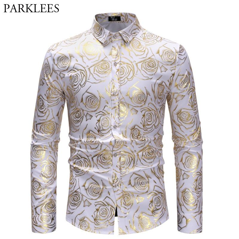 Shiny Gold Rose Print White Men Shirt Long Sleeve Slim Fit Floral Mens Dress Shirts Party Casual Prom Male Social Shirt Camisas