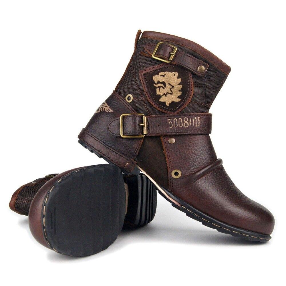 OTTO ZONE nouvelle mode en cuir véritable hommes bottines de haute qualité respirant travail Cowboy bottes moto bottes hommes hiver