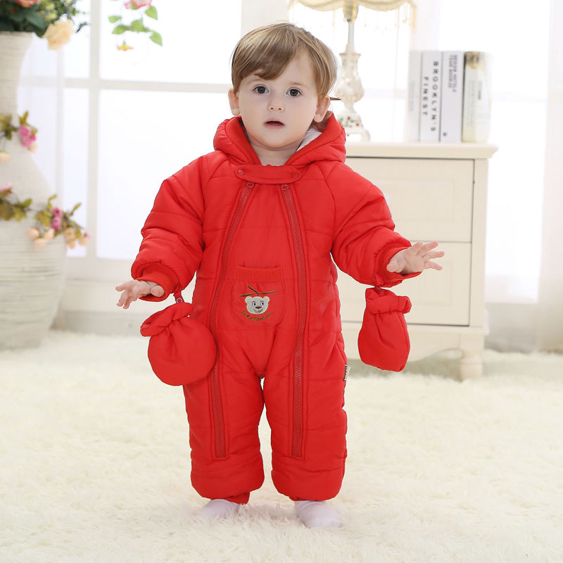 ФОТО Baby rompers snow wear Christmas gift for baby clothes Winter thermal cotton outwear baby one pieces cotton rompers