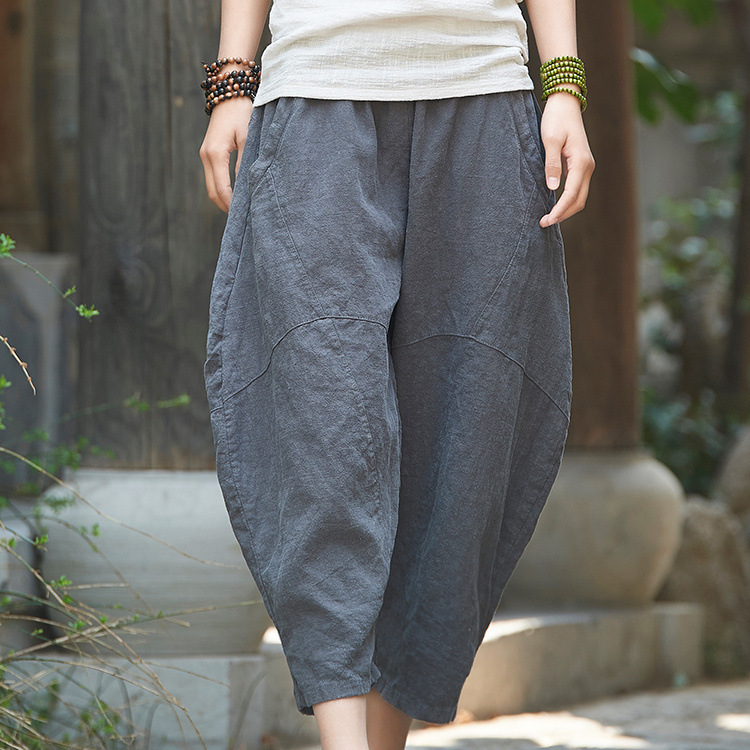 18 summer pant autumn cotton linen womens new ramie retro national wind womens nine stitching pants 2335