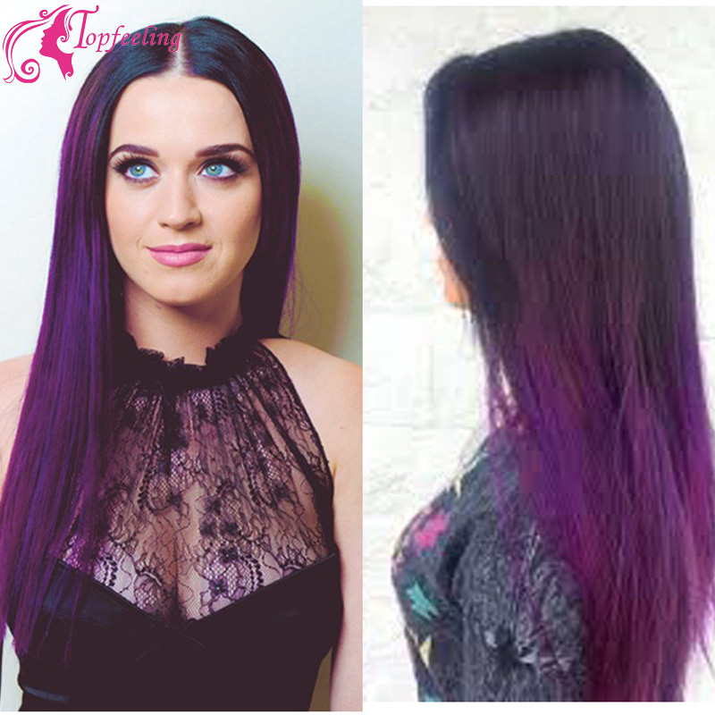 Two Tone 1b Purple Ombre Full Lace Wigs Human Hair Brazilian Glueless Front Wig Silky Straight Middle Parts In From
