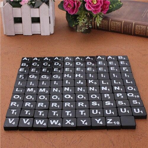 99pcs Plastic Scrabble Tiles English Letters Numbers Black/White Font Toy For Kids Children Puzzles Model Educational Toys