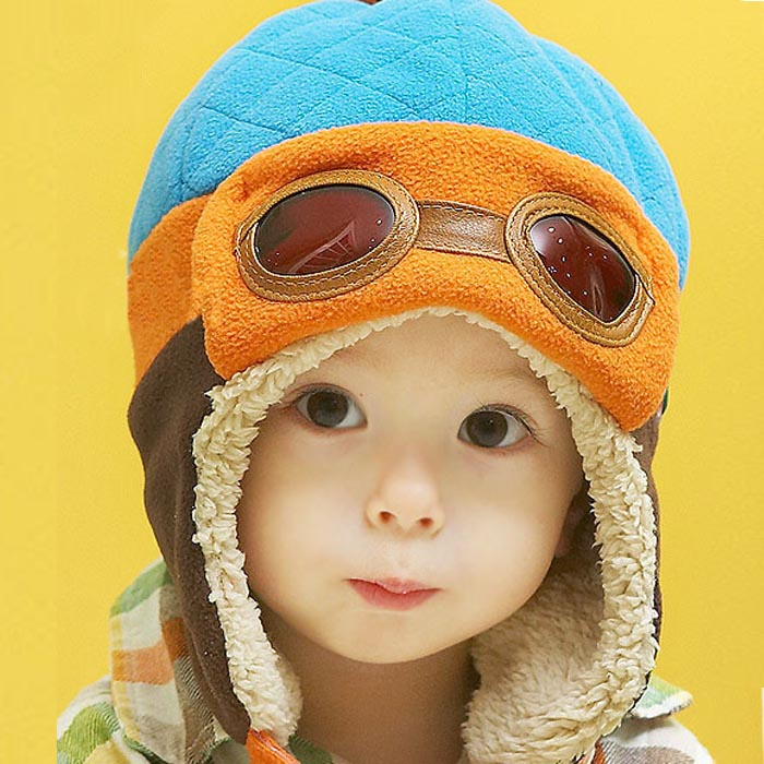 Baby hats Boys Winter Warm Cap Hat Beanie Pilot Crochet Earflap Hats Caps dropship ma30m30
