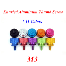 10pcs M3 Aluminum step hand screw computer case Knurled Thumb Screw Twist screws in Red Black Gold Orange Blue mixed 11 colors
