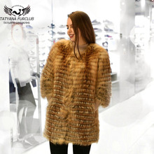 100% Real Red Fox Fur Coat, Length 80 Sleeve 45,2017 New Overcoat,Lady Winter Overcoat Free Shipping,BF-C0300
