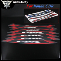 RiderJacky CBR logo MOTORCYCLE Rim Strips Wheel Stickers Decals For Honda CBR600RR CBR1000RR CBR 600RR CBR 1000RR