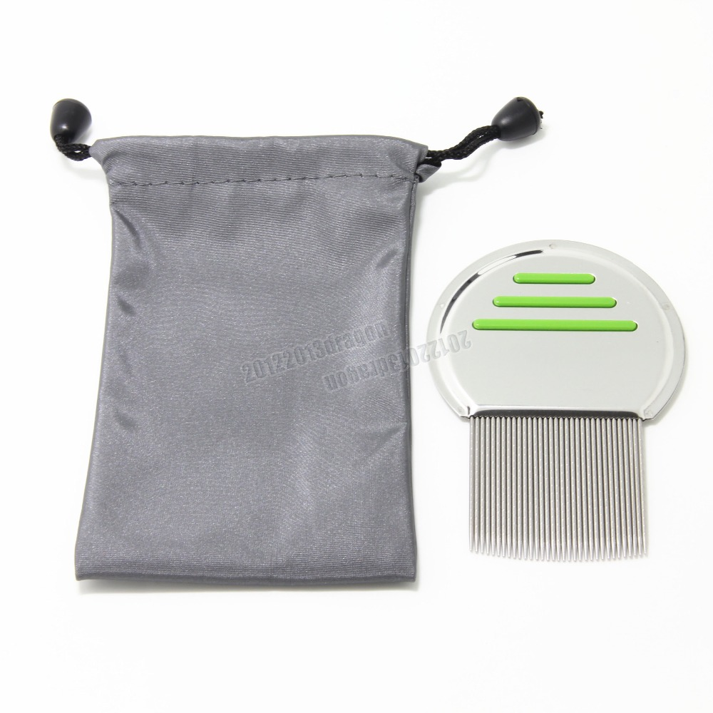 Green Get down to Nitty gritty Lice Comb Nit Free Kids Hair Rid Headlice stainless steel Metal Teeth remove nit brush with bag מסרק כינים