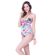 Ladies high quality one piece swimsuit, 2016 new branded floral bathing suit with fringe, free shipping