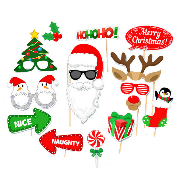 2018 Photo Booth Props Christmas Decorations Funny Mask Merry ...