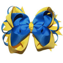 USD1.5/PC Big Stacked Boutique Bows With 6cm Clips Royal/Blue/Yellow Grosgrain Ribbon Baby Bows Good Quality Hair Accessories