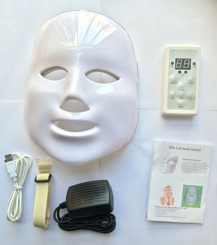 7 colors photon PDT led skin care led facial mask blue green red light therapy for sale 2 pcs per order
