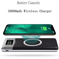 30000mah Power Bank External Battery Bank Built in Wireless Charger Powerbank Portable QI Wireless Charger For iPhone Samsung Power Bank     -