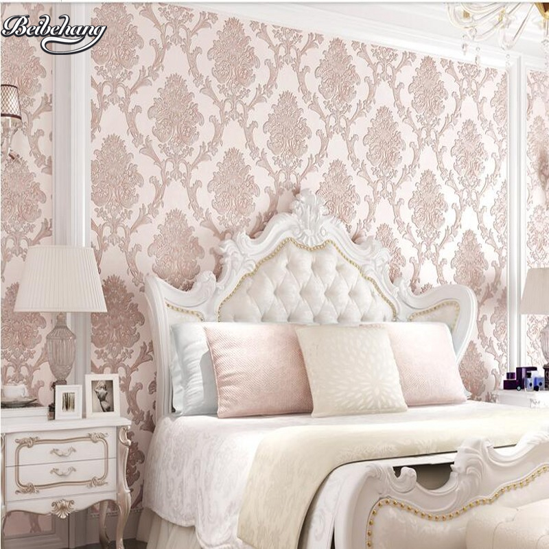 beibehang Large living room bedroom study wallpaper luxury European 3D non-woven fabric simple TV backdrop wall wallpaper beibehang pressure 3d non woven wallpaper luxury european style living room wallpaper background wallpaper