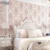 beibehang Large living room bedroom study wallpaper luxury European 3D non woven fabric simple TV backdrop wall wallpaper