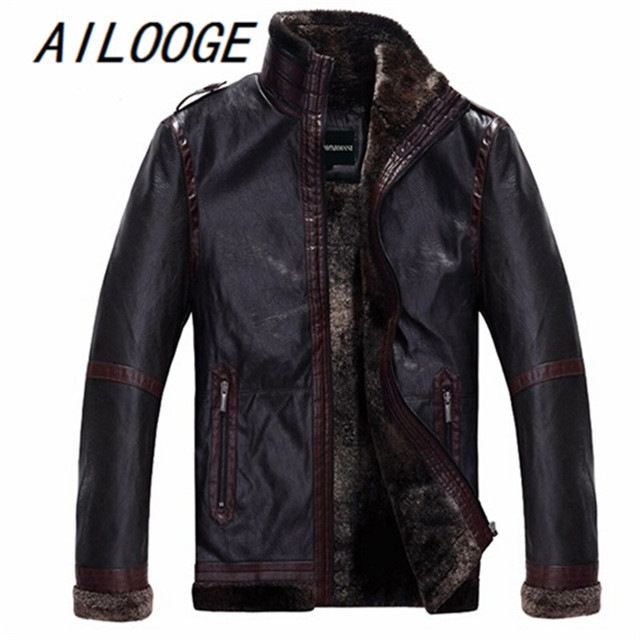 Autumn Winter Men's Fur Coat Jacket Men Leather Stand Collar Slim Fit Faux Sheepskin Leather Pilot Jacket Bomber Leather Jacket