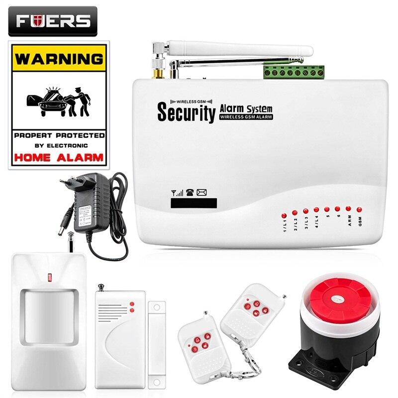 FUERS Sans Fil GSM Système D'alarme Double Antenne GSM Systèmes D'alarme À Domicile avec PIR Détecteur Russe Anglais Voix GSM Alarme de Sécurité