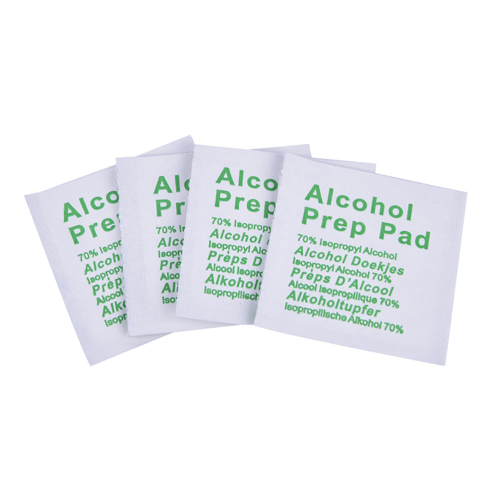 100Pcs Alcohol Swabs Pads Wet Wipes 70% Isopropyl First Aid Home Skin Cleanser Sterilization