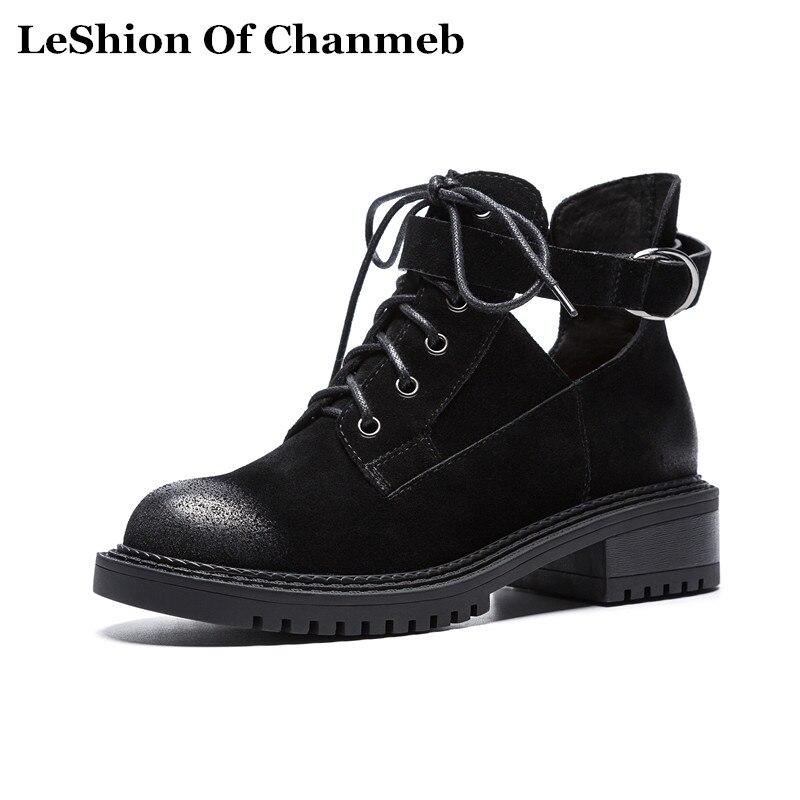 2018 حقيقية أوكسفورد جلدية أحذية الدانتيل يصل أسود الخريف الشتاء اللباس قطع حذاء من الجلد للنساء سميكة الوحيد bootie حذاء-في أحذية الكاحل من أحذية على  مجموعة 2